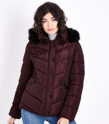 Burgundy Faux Fur Trim Hooded Puffer Jacket