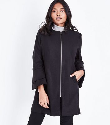 Petite Black Bell Sleeve Longline Coat