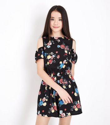 Teens Black Floral Print Cold Shoulder Playsuit