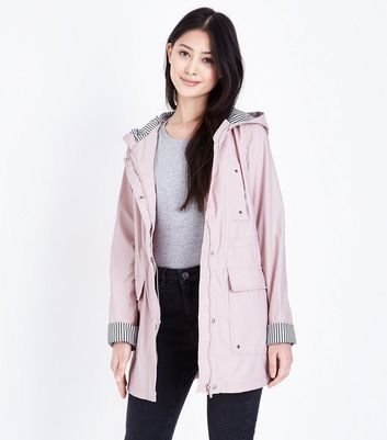 Petite Pale Pink Stripe Lined Anorak