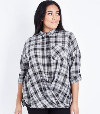 Curves Black Check Twist Hem Shirt