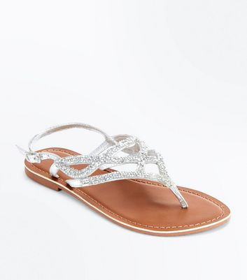 Silver Leather Crystal Embellished Flat Sandals