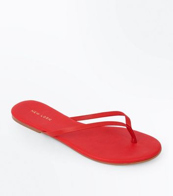 Red Leather Flip Flops