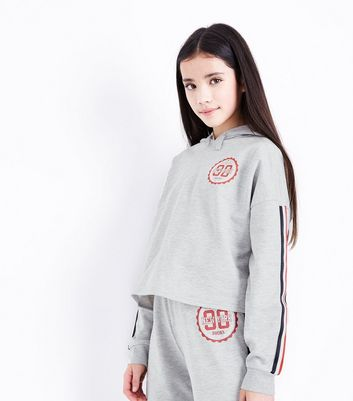 Teens Grey New York Stripe Sleeve Hoodie