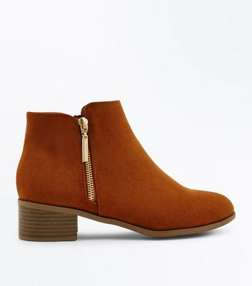 Teens Tan Suedette Zip Side Ankle Boots