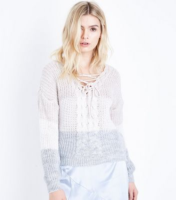 Cameo Rose Brown Stripe Lace Up Jumper