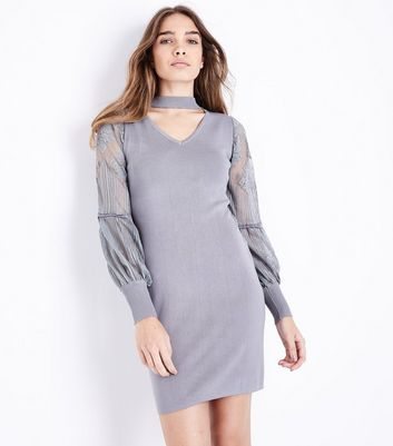 QED Grey Choker Neck Lace Sleeve Jumper Dress