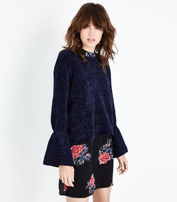 QED Navy Chenille Bell Sleeve Jumper