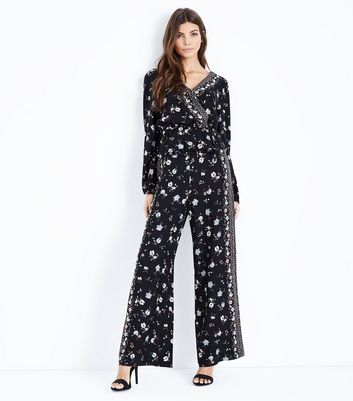 Black Floral Border Print Wide Leg Trousers