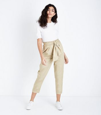 Stone Cotton Paperbag Waist Trousers