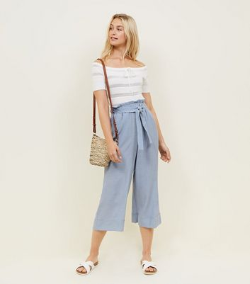 Pale Blue Crepe Tie Waist Cropped Trousers