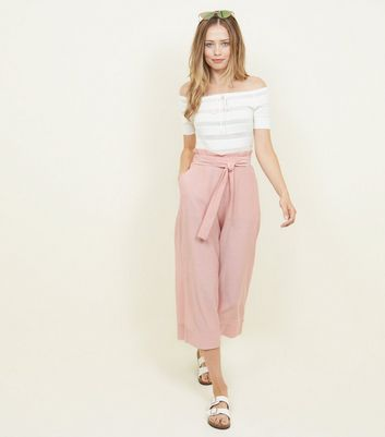 Coral Crepe Tie Waist Cropped Trousers