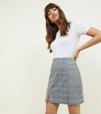 Light Grey and Blue Check Mini Skirt