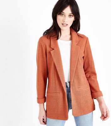 Coral Cross Hatch Blazer
