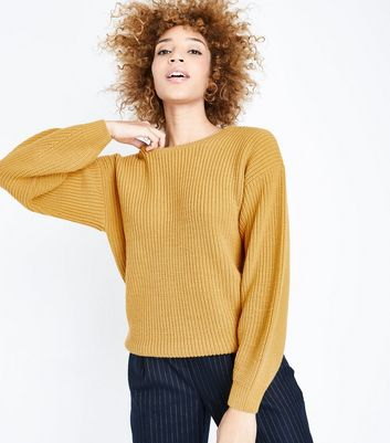 Mustard Yellow Lattice Back Balloon Sleeve Jumper