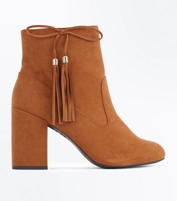 Tan Suedette Bow Tassel Side Heeled Boots