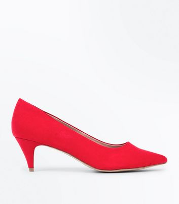 Red Suedette Pointed Kitten Heel Court Shoes