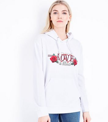 White Love is Blind Slogan Puff Print Hoodie
