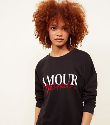 Black Amour Eternal Slogan Sweatshirt
