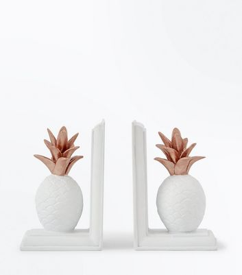 White Pineapple Bookends