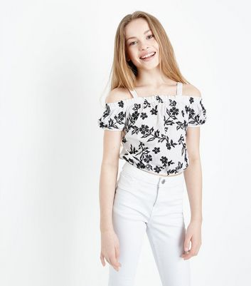 Teens White Floral Cross Stitch Cold Shoulder Top