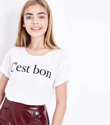 Teens White C'est Bon Slogan Crop T-Shirt