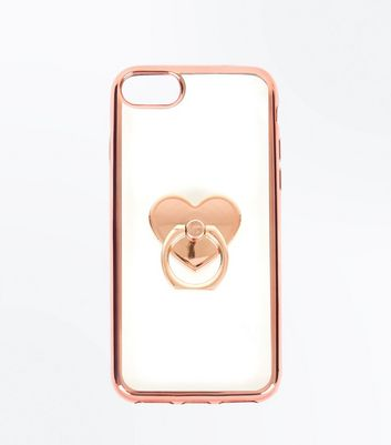 Rose Gold Ring Heart Phone Case by New Look