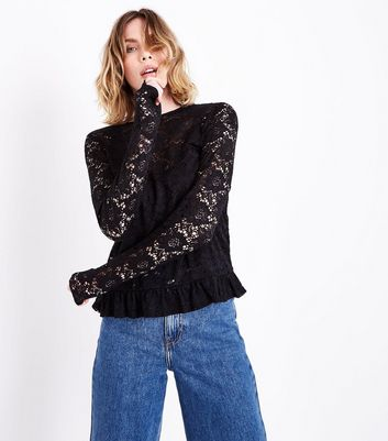 Tall Black Lace Frill Hem Blouse