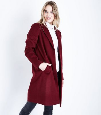 Tall Burgundy Longline Collared Coat