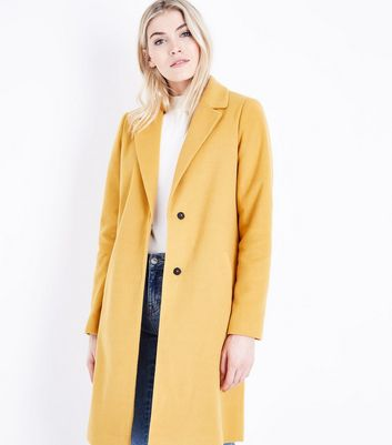 Tall Mustard Yellow Longline Collared Coat