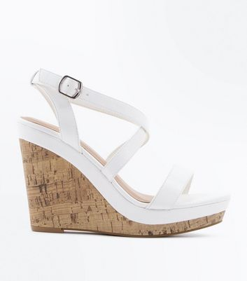 White Strappy Cork Wedges