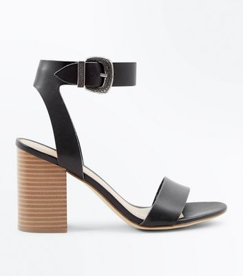 Black Western Buckle Wood Heel Sandals