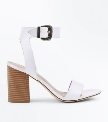 White Western Buckle Wood Heel Sandals
