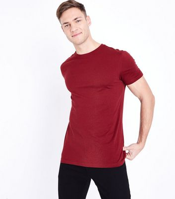 T-shirt Muscle Fit rouge brique à manches courtes