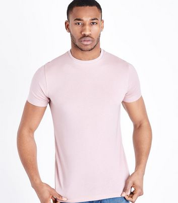 Light Pink Short Sleeve Muscle Fit T-Shirt