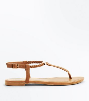 Teens Tan Plait Strap Flat Sandals