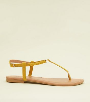 Girls Yellow Plait Strap Flat Sandals