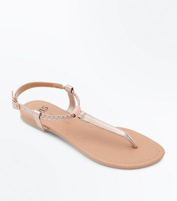 Teens Rose Gold Plait Strap Toe Post Sandals