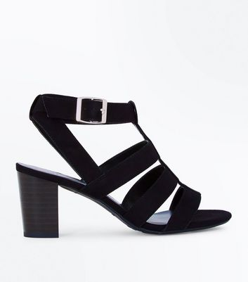 Teens Black Suedette Heeled Gladiator Sandals