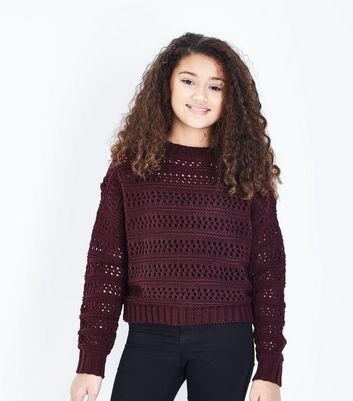 Teens Burgundy Pointelle Jumper