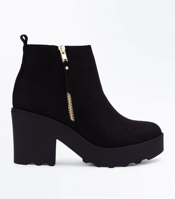 Black Suedette Chunky Cleated Sole Boots
