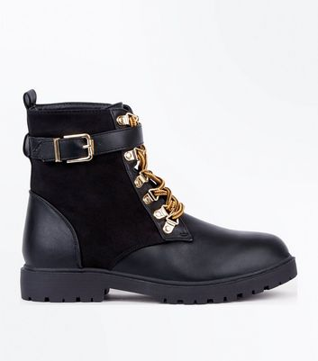 Black Contrast Panel Lace Up Worker Boots