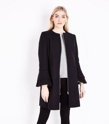 Tall Black Collarless Tiered Sleeve Coat