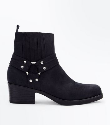 Black Suedette Square Toe Stirrup Western Boots