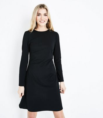 Tall Black Cut Out Back Crepe Tunic Dress