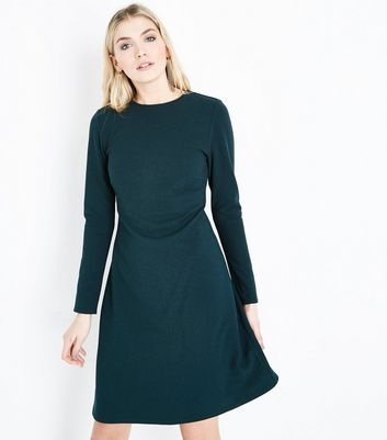 Tall Dark Green Cut Out Back Crepe Tunic Dress