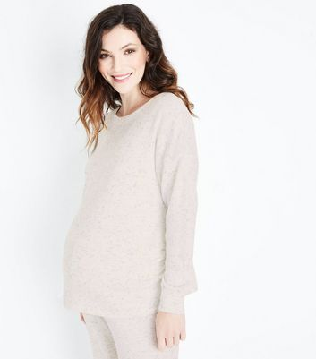 Maternity Pale Grey Brushed Ribbed Sweatshirt