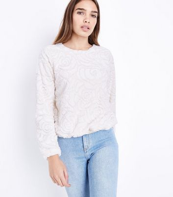 QED Cream Floral Faux Fur Top