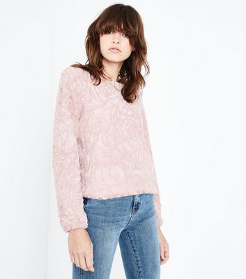 QED Shell Pink Floral Embossed Faux Fur Top
