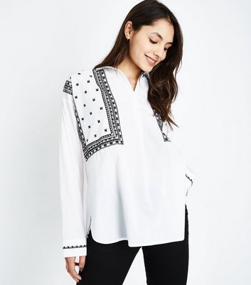 Tall White Folk Embroidered Overhead Shirt